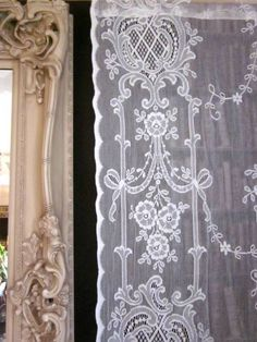 """Highland Rose Olivia- Victorian C1895 Style Ivory Cotton Lace Curtain Panel 56"""" x 26"""" Ready-made"""