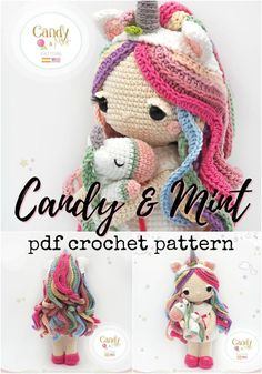 Candy and Mint, the little unicorn doll and her unicorn stuffed animal. Adorable crochet pattern for this beautiful colourful little amigurumi doll! Love this gorgeous pattern! Can't wait to make it! Crochet Pattern Round Up of Unicorn Patterns! Crochet Doll Pattern, Crochet Toys Patterns, Crochet Patterns Amigurumi, Amigurumi Doll, Stuffed Toys Patterns, Crochet Dolls, Doll Patterns, Diy Unicorn, Crochet Unicorn Hat