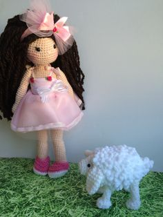 Sweet crochet doll and her little sheep