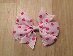 Pink Hair Bow Pink Polka Dot Hair Bow Toddler Hair Bow