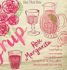 Rose Margarita cocktail illustrated recipe on They Draw and Cook Ohn Mar Win Rose ingredient line drawing vintage glass