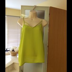Flash sale! Lime green top with adjustable straps Lime green top with adjustable straps and gold tone details. Available in size small but fits medium. Two available. 100% Polyester. Please indicate your interest and I will make a separate listing for you. No trades. No Paypal.  Will go back to original price at end of day ($12) Tops