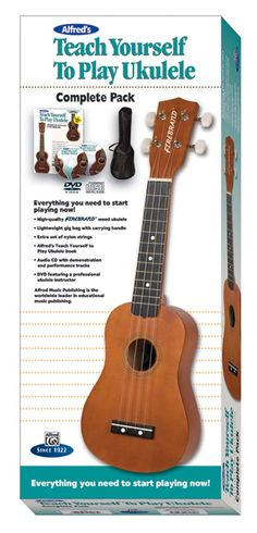 This award-winning, best-selling, complete starter pack includes a high-quality Firebrand™ wood ukulele with nylon strings, deluxe accessories including a custom-fit lightweight gig bag with carrying handle, an extra set of nylon ukulele strings, and Alfred's Teach Yourself to Play Ukulele Course (Book, CD, and DVD), the best-selling multimedia instruction series for beginners of all ages! #music #learnmusic #ukulele
