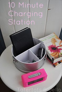 DIY Charging Station.  this would be great so each child could be more responsible about recharging his/her own devices.  also, instead of the iPad, that'd be a great place for their headphones to hang out!
