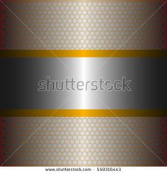 shiny silver metal with silver background.two shiny yellow  lines style.gold plate with hexagon holes style design