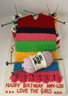 Knitting Cake! How cute! When you can use your cake decorating kit. Again this is a simple design.