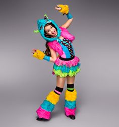 Monster Costumes, Girl Costumes, Dance Costumes, Wild Things Costume, Monster Hat, Pink Faux Fur, Faux Fur Vests, Neon Yellow, Back To Black