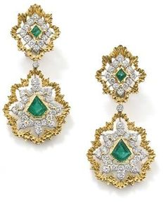 """A Pair Of Ear Pendants, Each Set With A Kite-Shaped Emerald Within A Brilliant-Cut Diamond And Textured Yellow Gold Drop-Shaped Foliate Motife Frame Suspended By A Diamond Collet From Similarly  Set Detachable Surmount - Signed """"Gianmaria Buccellarti"""""""