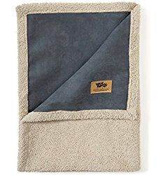 West Paw Big Sky Dog Blanket and Throw, Faux Suede/Silky Soft Fleece Pet Throw Blanket for Couch, Furniture Chair and Bed, Storm Blue, Medium