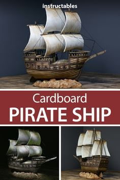 DIY Cardboard Pirate Ship Craft a realistic pirate ship model from cardboard. Pirate Ship Craft, Cardboard Pirate Ship, Cardboard Paper, Cardboard Crafts, Paper Toys, Pirate Ships, 3d Paper, Homemade Pirate Costumes, Pirate Boats
