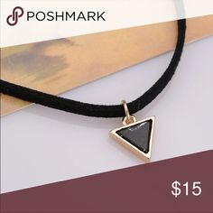 Black Marble Triangular Choker Black Marble Triangular Velvet Choker  BUNDLES ARE WELCOMED!  Length: 15 inches max circumference Width: 1 cm Jewelry Necklaces