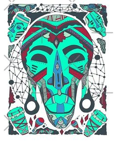 Teal Tribal African Mask by illustration artist Kenal Louis. African Wall Art, Tribal African, Culture T Shirt, African Home Decor, Masks Art, African Masks, African American Art, Top Artists, Illustration Artists