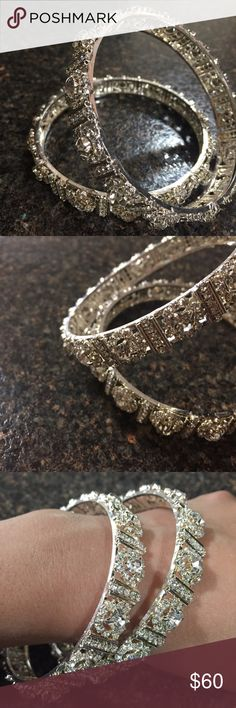 "🎊LABOR DAY SALE🎊- Indian Bangles Two piece Indian bangles that are in a silver tone. They are new and have never been worn. The diameter is about 2 3/4"" WAS $60 BUT LABOR DAY SPECIAL $40!!!!!!! Always open to offers (: Jewelry Bracelets"