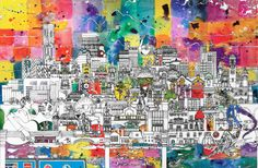 Manchester Skyline - A Unique and Vibrant Art Print