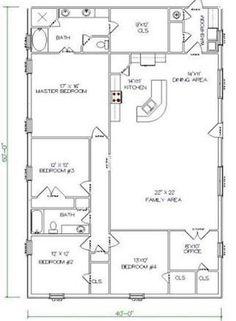 5 Bedrooms and 2 Bathrooms Barndominium Floor Plans