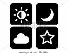 Four different types heavenly symbols in white on black background