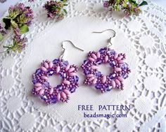 Free pattern for beaded earrings Dulce U need: super duo or twin seed beads crystal