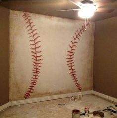 Baseball wall - awesome for a basement or sports room! Bedroom Themes, Bedroom Decor, Nursery Themes, Bedroom Wall, Lego Bedroom, Home Decoracion, Decoration Design, My New Room, Boy Room