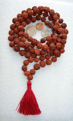 Rudraksh Rudraksha Hand Knotted 10 mm 108 1 Mantra Mala Meditation Beads | eBay