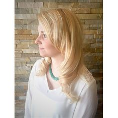 Blonde hair, baby lights , highlighted hair, retro curls, long hair , mid length hair