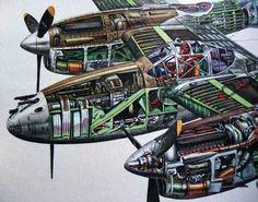 Lightning Cutaway - My Ideas & Suggestions Ww2 Aircraft, Fighter Aircraft, Military Aircraft, Fighter Jets, Lightning Aircraft, Lockheed P 38 Lightning, Lightning Storms, Bomber Plane, Trains