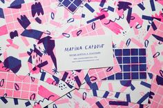 """Personal Business Cards by Marina Cardoso """"Risograph business cards printed in 2 colors by Selva Press."""" Marina Cardoso is a freelance illustrator and designer based in Vitória, Brazil. She is focused on print design, graphic design, branding. Vintage Business Cards, Cool Business Cards, Business Card Design, Hand Illustration, Graphic Design Illustration, Blog Design Inspiration, Online Drawing, Name Cards, Bamboo Tablet"""