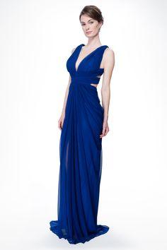 Mesh V-Neck Cross Back Gown in Marina - Prom Dresses | Tadashi Shoji