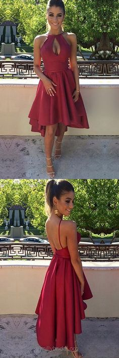 Casual A-line Homecoming Dresses, Scoop Neck Satin Asymmetrical Formal Party Gowns,Ruffles Burgundy Evening Dress,Backless High Low Prom Dresses