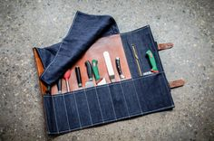 BLUE DENIM & LEATHER KNIFE ROLL