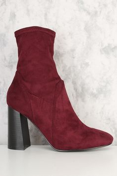 These sexy and stylish booties are a must have this season! The features include a faux suede upper, round toe, stitched trim detailing, side zipper closure, smooth lining, wide chunky heel, and cushioned footbed. Approximately 4 inch wide chunky heel.
