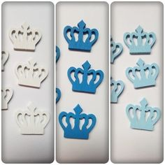 10 x Painted Wooden Shapes - 23mm - Crown - Mixed Colour