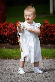 Princess Estelle celebrates the 36th birthday of her mother, Crown princess Victoria on 14th July 2013 at the Swedish Royal Family's summer residence Solliden