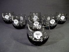 $39.99 VINTAGE SET OF 7 NEW YORK JETS SMOKE-COLORED ROLY POLY GLASSES