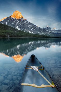 Canoe at Lower Waterfowl Lake with Chephrem Mountain in the background, Banff National Park, Alberta, Canada