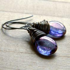Amethyst Glass Earrings, Lilac Picasso Czech Glass Teardrop Antiqued Brass Wire Wrapped Earrings - Eventide