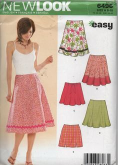 Easy Skirt Pattern New Look Sizes 818 English by creekyattic, $4.00