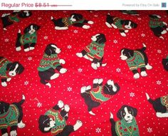 ON SALE Christmas Dogs Fabric by Cranston Print by sewcraftscorner, $7.57