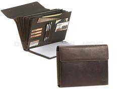 Dethloff LEOPOLD - Leder A4 Fächermappe inkl. Stift und Schreibblock - dunkelbraun