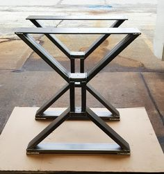Heavy Duty steel tubing legs. Load up to 1000 lbs. on this set of 2 legs. This listing is for set of 2 Steel Tubing X Legs. - Made from Steel Tubing - 3 x 1 x 14 ga wall and 1/4 x 5 Flat bar on top - Inside dimensions on the middle 7 x 1 1/2 - Legs are predrilled. - Finish - Raw steel, Clear coated, Black flat.