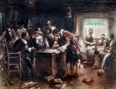 Signing of the Mayflower Compact Edward Percy Moran American) Canvas Art - Edward Percy Moran x Mayflower Compact, National History Day, Independance Day, Readers Theater, Colonial America, May Flowers, Early American, Native American, American History