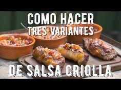 Como hacer Salsa Criolla, Salsa Pebre y Pico de Gallo - El Laucha Responde - YouTube Vegan Life, Catering, Sausage, Bbq, Food And Drink, Pcos, Chicken, Alonso, Yummy Yummy