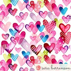 I Heart You fabric by sara_berrenson on Spoonflower - custom fabric Heart Wallpaper, Love Wallpaper, Pattern Wallpaper, Iphone Wallpaper, Valentines Day Hearts, Valentine Day Love, Watercolor Heart, Novelty Print, Heart Art