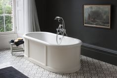 This Traditional Bath by Burlington is available with a choice of three surrounds; Sand, Matt White and Olive. Enjoy Free Delivery on the Burlington London Round Bath. Traditional Baths, London Bath, Victorian Bathroom, Stand Alone Bathtubs, Modern Bathroom, Wooden Bath, Free Standing Bath, Luxury Bathroom, Bathtub