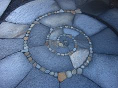 Spiral Patio, Walkway, Low Retaining Wall, And Curved Steps Architectural Landscape Design Pebble Mosaic, Stone Mosaic, Mosaic Art, Pebble Patio, Pebble Floor, Flagstone Patio, Rock Mosaic, Mosaic Walkway, Slate Pavers