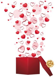 Red Gift with Hearts PNG Clipart Picture
