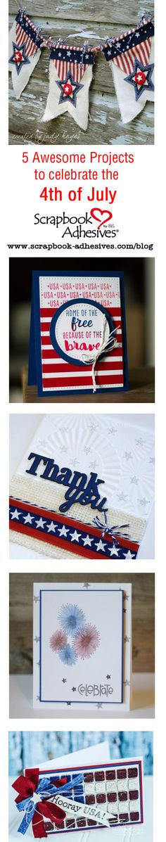 Visit the blog to see these cards, banners and more! Celebrate the 4th of July in style with these paper crafts on the Scrapbook Adhesives by 3L Blog!