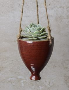 Small Hanging Succulent Planter, comes WITHOUT plant, Perfect Valentine's Gift, handmade ceramics, iron-red glaze, pottery by JolanaCeramicDesigns on Etsy