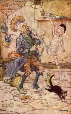 Vintage 1911 Pinocchio Kicks Geppetto Illustration by Charles Folkard. $14.99, via Etsy.