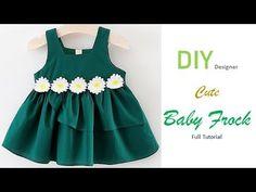 DIY Designer Cute Baby Frock Cutting And Stitching Full Tutorial Baby Frock Pattern, Frock Patterns, Kids Dress Patterns, Pattern Sewing, Baby Girl Frocks, Frocks For Girls, Little Girl Dresses, Girls Dresses, Baby Dresses