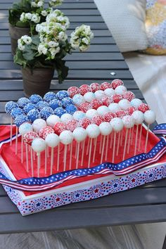 Red, white and blue cake pops!